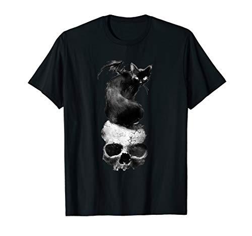 Vintage Halloween Cat Face (Vintage Scary Halloween Black Cat Costume skull & Moon)