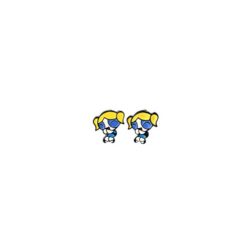 Powerpuff Girls Bubbles Logo Superhero Cartoon Post Stud Earrings In Gift Box -