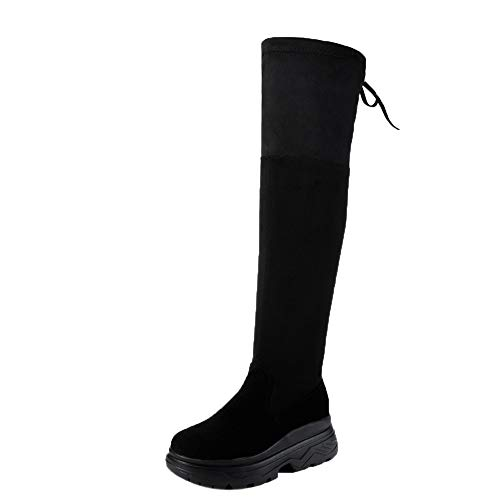 AIMTOPPY, Women Knee High Flat Thick Bottom Stretch Skinny Boots Thigh High Boots Shoes