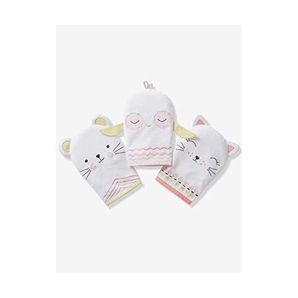 VERTBAUDET Lot de 3 gants de toilette animaux Blanc TU 1