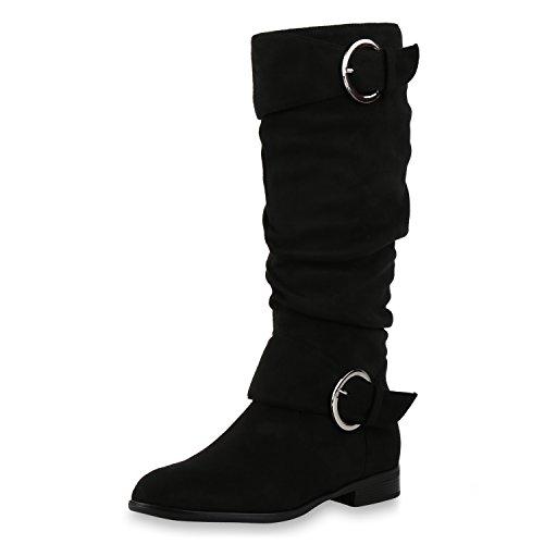 napoli-fashion Klassische Damen Stiefel Schnallen Leder-Optik Booties Jennika Schwarz Velours