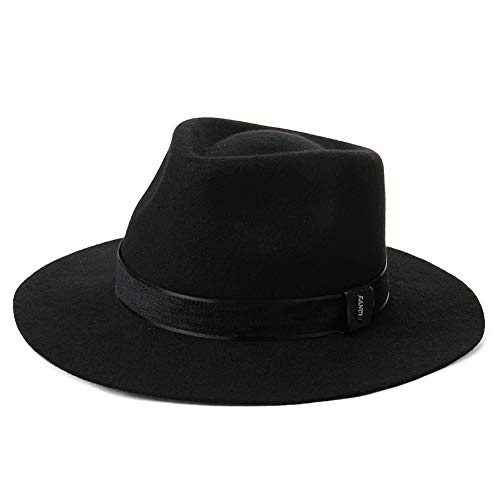 Mens 1920s Homburg Gangster Fedora Manhattan Felt Mafia 100% Wool Derby Hat for Women Black -