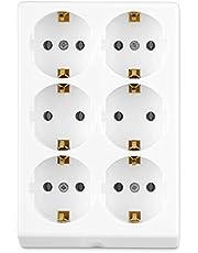 REV 0512387555 stekkerdoos, meervoudige aansluiting zonder kabel 6-voudig, max. 3500 W, wit
