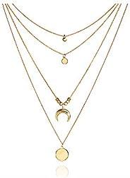 Collar Colgante Luna Dorado Mujer Collar Largos Multicapa Moda Brillante