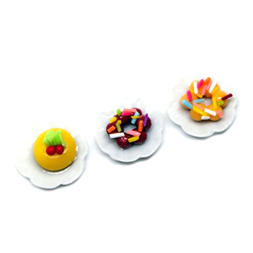 A Little Tiny World - Dollhouse miniature Food, Tiny Food Collectibles - Pondering Donut Recipe Set of 3
