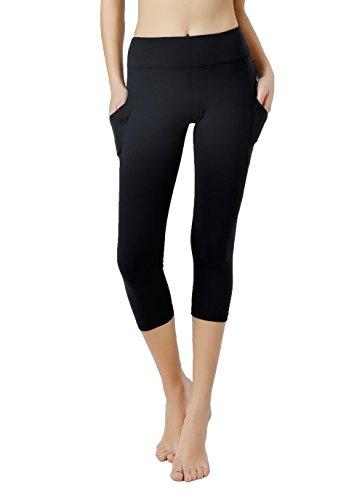 Vigorpace Women's Capris Side Pockets Running Cycling Yoga Workout Tight Leggings Inner Hidden Pocket (XS)