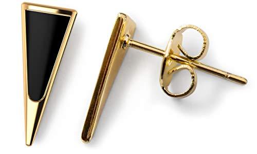 Gold Stud Earrings - Dainty Jewelry Earrings for Women Fashion 14k Gold Dagger Stud Earrings for Women Triangle Earrings Tiny Stud Earrings Black Stud Earrings Minimalist Earrings (Onyx 14k Gold)