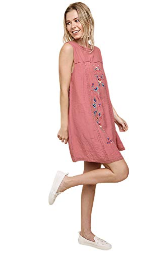 Umgee Bohemian or Short Dress Embroidered Tunic Women's Sleeve Roses qr5CqB