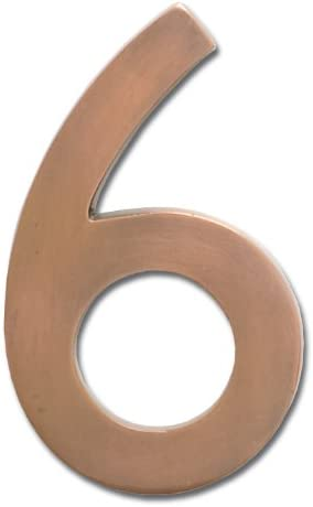 Antique Copper Architectural Mailboxes 3585AC-0  Brass 5-Inch Floating House Number 0