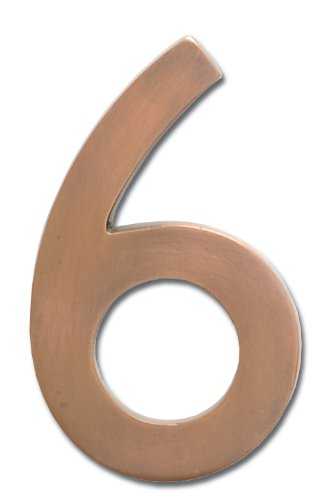 Architectural Mailboxes 3585AC-6  Brass 5-Inch Floating House Number 6, Antique Copper (Mailbox Copper)