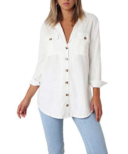et Printemps Blanc Femme Tunique Haut Tee Chemisiers Manches Automne V Casual Shirts T Longues Blouse Bouton Shirts OUFour avec Col Tops d5wRqt5