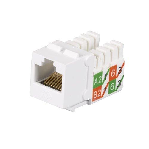 (Black Box GigaTrue2 CAT6 Jacks, Universal Wiring, Component Level, 25-Pack, White)