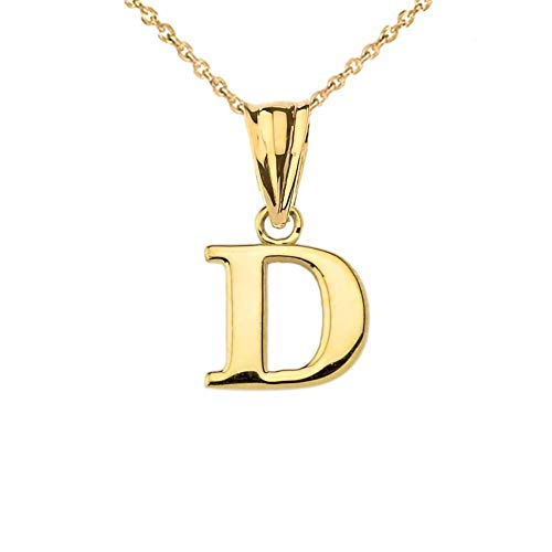 (Fine Personalized Initial D Charm Pendant in Solid 10k Yellow Gold)