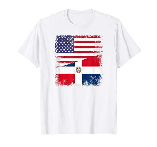 Half Dominican Flag T-Shirt | Vintage USA Gift (Dominican Republic Flag T-shirt)