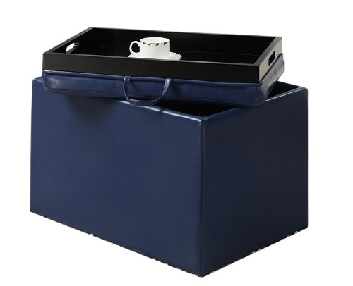 Convenience Concepts Designs4Comfort Modern Accent Storage Ottoman, (Navy Blue Storage Ottoman)