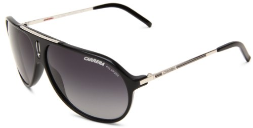 Carrera Hot/P/S Polarized Shield Sunglasses,Black & Palladium Frame/Grey Shiny Polarized Lens,One Size ()