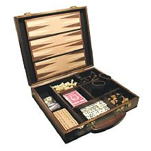 Classic Game Collection 6-in-1 Attache Compendium Game Burlwood Backgammon Set