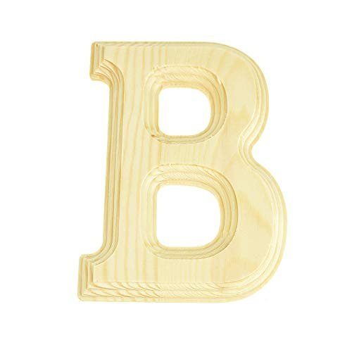 Homeford Pine Wood Beveled Wooden Letter B, Natural, - Wooden Letters Pine