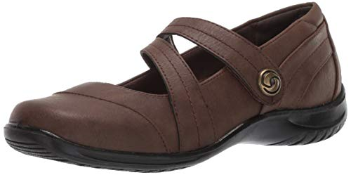 - Easy Street Women's Mary Jane Flat, Brown, 8 W US