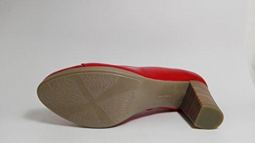 Desiree-Zapatos de salon de piel rojo -Mod. 1148 -Altura tacon 7,5 cm.