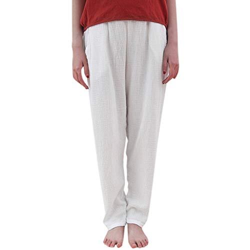 AOJIAN Leggings for Women, Yoga Pants Cotton Linen Loose Trousers Jogger Workout Running Sports Capri White