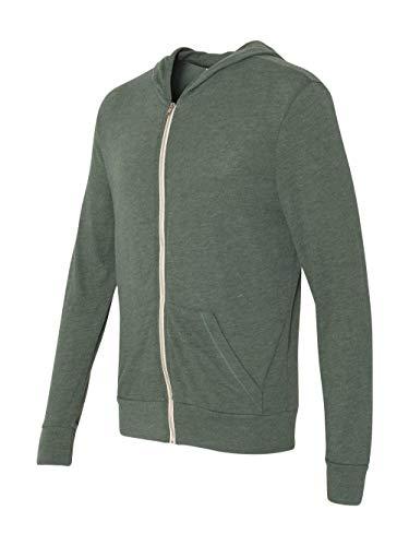 Alternative Men's Eco Zip Hoodie Sweatshirt, Dusty Pine, X-Large