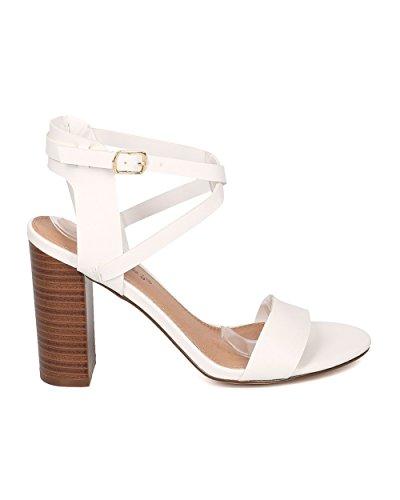 Breckelles Sandalo Con Tacco A Blocco Donna - Cinturino Incrociato Con Cinturino Alla Caviglia - Sandalo Con Tacco Grosso - Hk71 In Similpelle Bianca