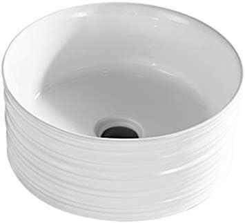 BoPin バスルームの洗面台、ラウンドセラミックカウンタ上流域浴室バルコニー洗面台単一盆地(タップ無し)、40.8X40.8X18cm ベッセルシンクシンク (Color : White)
