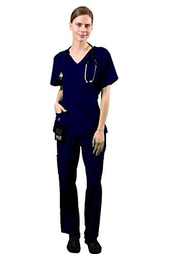 HyBrid & Company Women's Super Comfy Medical Scrubs Set SCR44804 Navy Medium