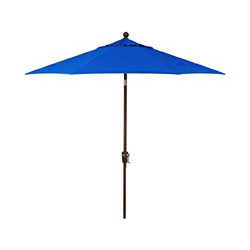 9-Foot Treasure Garden (Model 810) Deluxe Auto-Tilt Market Umbrella with Bronze Frame and Obravia2 Fabric: Cobalt