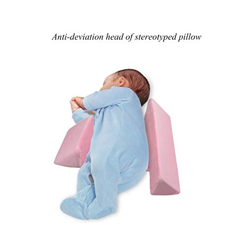 Baby Nursing Pillow for Newborn with Adjustable Side Support,Comfortable & Washable Toddler Pillow for Sleeping with Velvet Pillow Case(Blue/White/Pink)