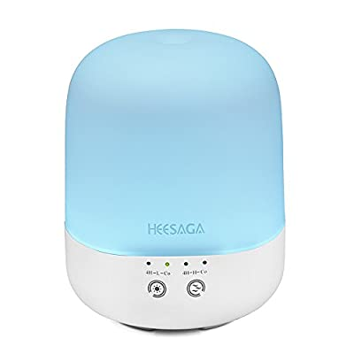 HEESAGA Essential Oil Diffuser 300ml, Aromatherapy Ultrasonic Cool Mist Humidifier with Touch Control and 7 Color Changing LED, Waterless Auto Shut-off