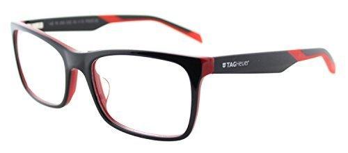 TAG Heuer B-URBAN 0554 C-002 Black Red Plastic Rectangle Eyeglasses