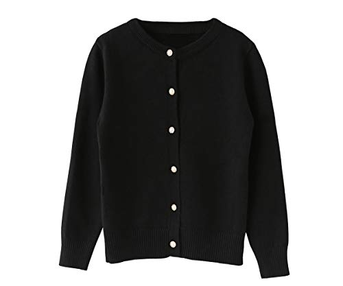 SMILING PINKER Little Girls Crewneck Cardigans Button Knitted Uniform Sweaters Solid Long Sleeves(7-8,Black)