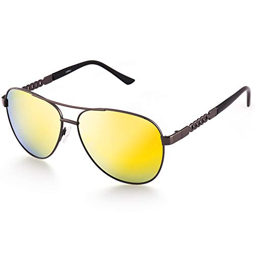 Polarized Aviator Sunglasses for Women, Small Face Eyewear with Case, UV400 Protection, 58MM, Gold Mirrored Lens, Gun Metal Frame