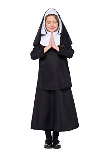 Halloween Children Nun Cosplay Jesus Christ Girls Performance Costumes (Medium)