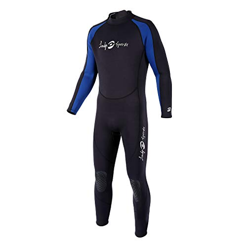lockys sports Full Body Dive Wetsuit, 3mm Neoprene Wetsuit, Long Sleeve Swimwear with Adjustable Collar for Diving Surfing Snorkeling for Men (Large)