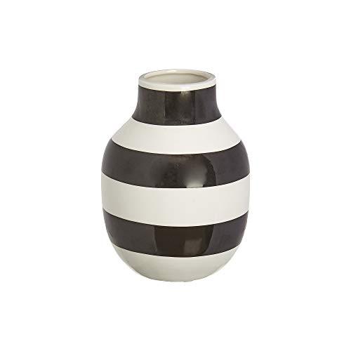 Raz Classic Black and White Wide Stripe 6 x 5 Glossy Ceramic Stoneware Vase -
