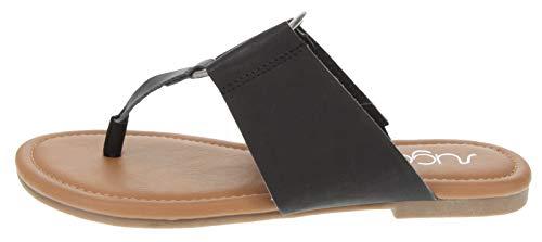 (Sugar Women's Price Flat Thong Sandal with Ring Hardware Black 8.5)
