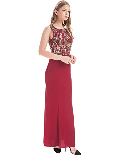 (MANER Women's Glitter Glass Beads Sequin Long Formal Gowns Mermaid Evening Prom Dresses (Burgundy/Gold, L))