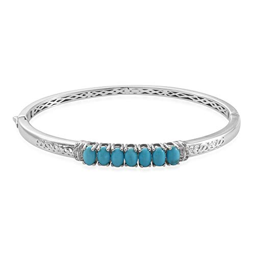 """Bangle Bracelet 925 Sterling Silver Platinum Plated Sleeping Beauty Turquoise Zircon Gift Jewelry for Women Size 7.25"""""""