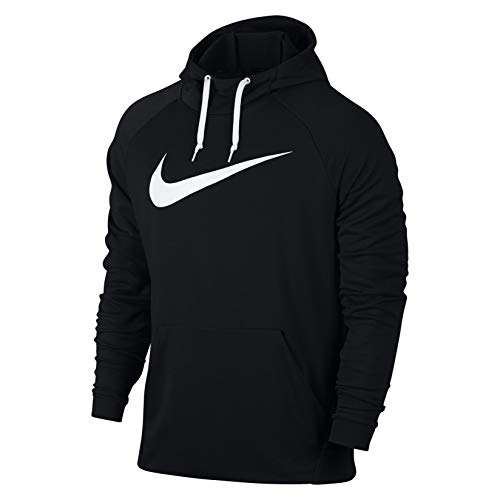 NIKE Men's Dry Pullover Swoosh Hoodie, Carbon Heather/White, Custom Size 1 (Nike Terry Pullover)