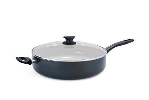 GreenLife Everyday Value 5QT Ceramic Non-Stick Jumbo Sauté Pan with Handle Helper, Black Ceramic Non Stick Saute Pan
