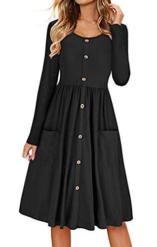Primavera y Otoño Mujeres Midi Vestido con Botón Casual Cuello Redondo Manga Larga A-Line Vestido de Playa Moda Plisado Vestidos de Partido Cóctel Eventos Negro