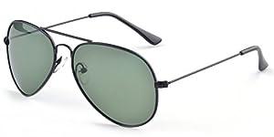 Aoron Unisex Classic Polarized Aviator Sunglasses with Dark-green Lens Black Metal Frame