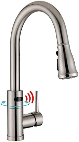 WILLSLAND Touchless Kitchen Faucet with 3-Mode Pull Down Sprayer, Automatic Kitchen Sink Faucet, Swivel Motion Sensor Faucet Brushed Nickel Anti-Fingerprints Brass Body