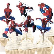 Spider Man Cupcake Toppers Birthday Party Supplies SpiderMan Favors Pack of 24