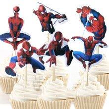 Spider Man Cupcake Toppers Birthday Party Supplies SpiderMan Favors Pack of 24 -