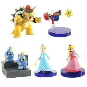 TOMY Super Mario Galaxy Desk Top 5 Figure Set with Rosali...