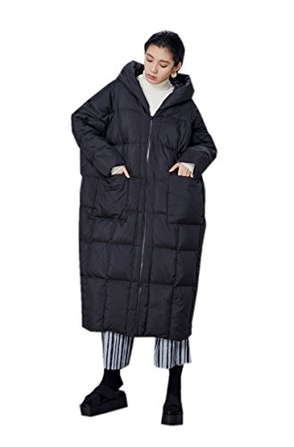 Katuo Women's Cocoon Style Thickened Light Weight Long Coat Hooded (S, Black) by KATUO